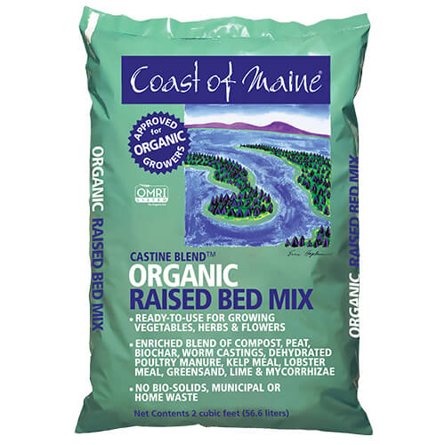 Organic raised bed soil, organic container soil, omri listed organic bed mix, raised bed mix, made in Maine soil